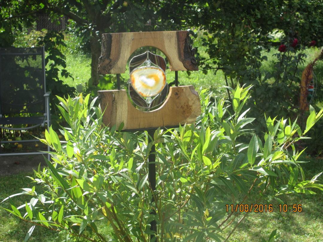 Gartenstelen Aus Holz gartenstele aus holz, glas und achat | kreative glasgestaltung